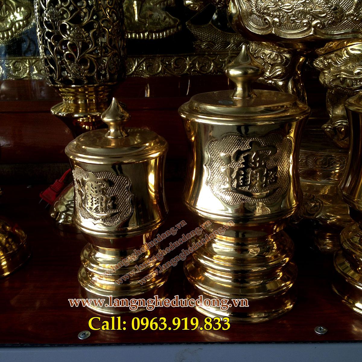 langngheducdong.vn - Đài thờ, bộ đài DK 10cm bằng đồng, đồ thờ cúng đồng
