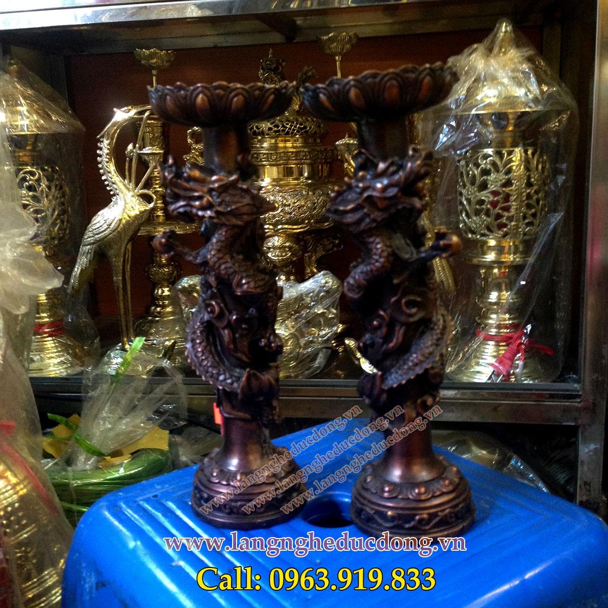 langngheducdong.vn - đôi nến thờ rồng cuốn cao 21cm