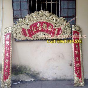 langngheducdong.vn - Cuốn thư câu đối Nhân Trung Đức Hiếu, bộ cuốn thư đồng vàng nền đỏ thúc chữ theo yêu cầu