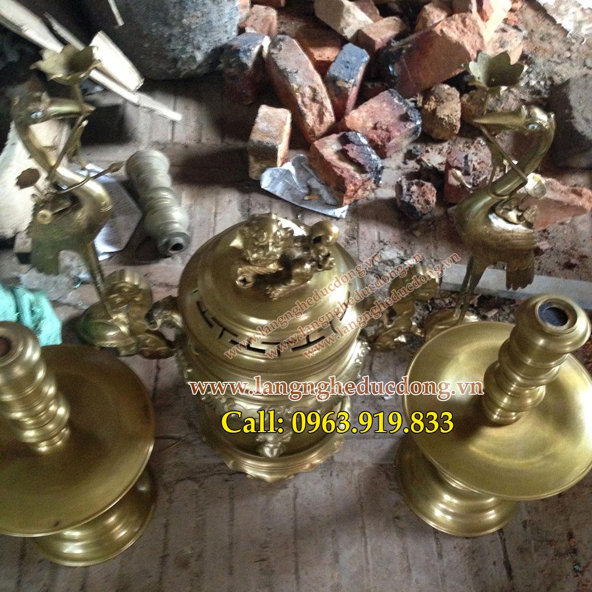 langngheducdong.vn - Đỉnh bâu rồng, bộ đỉnh ngũ sự 60cm, đình đồng vàng, đỉnh đồng cao cấp