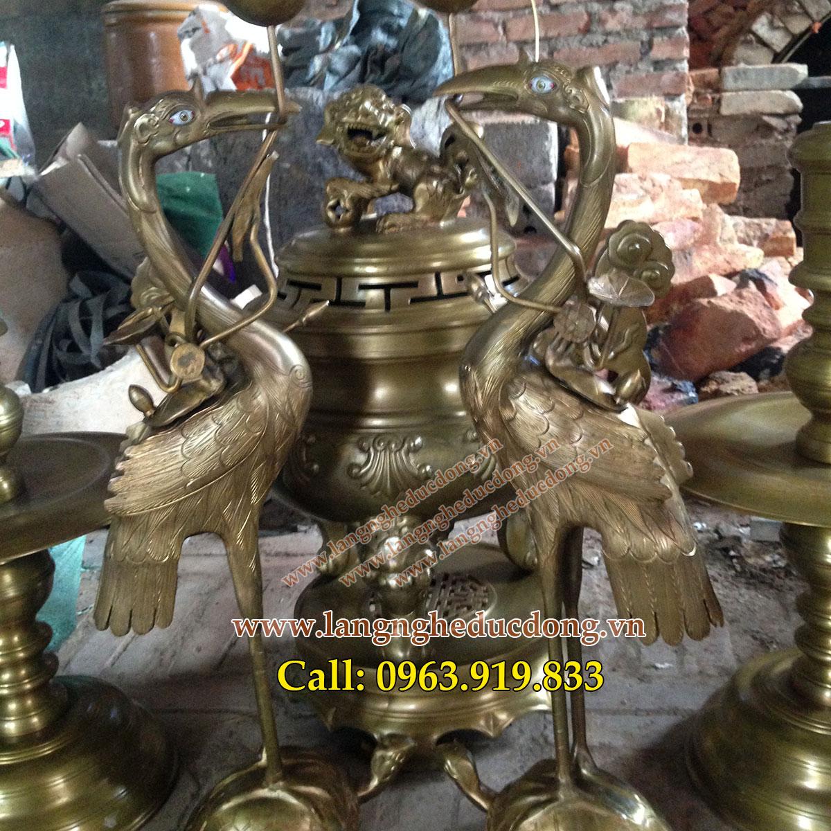 Bộ đỉnh đồng thờ cúng đúc thủ công , gia ban bo dinh dong cao 60cm