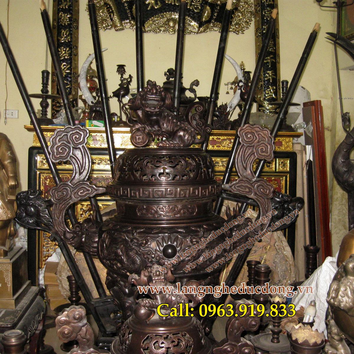 langngheducdong.vn - đỉnh song long chầu nguyệt, đỉnh thờ đỉnh hương, đỉnh đồng vàng 140cm