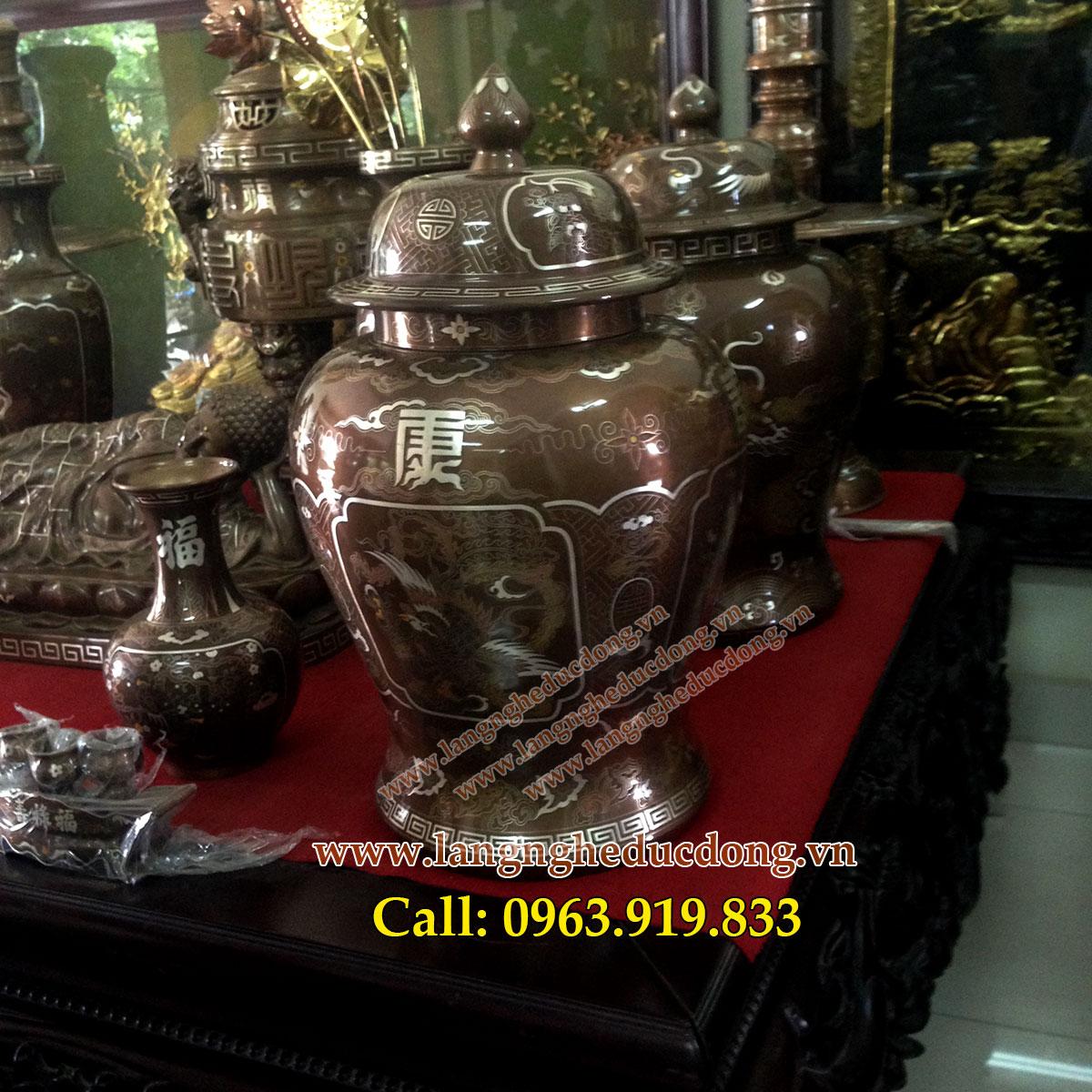 langngheducdong.vn - Cặp chóe bằng đồng khảm ngũ sắc cao cấp cao 60 cm