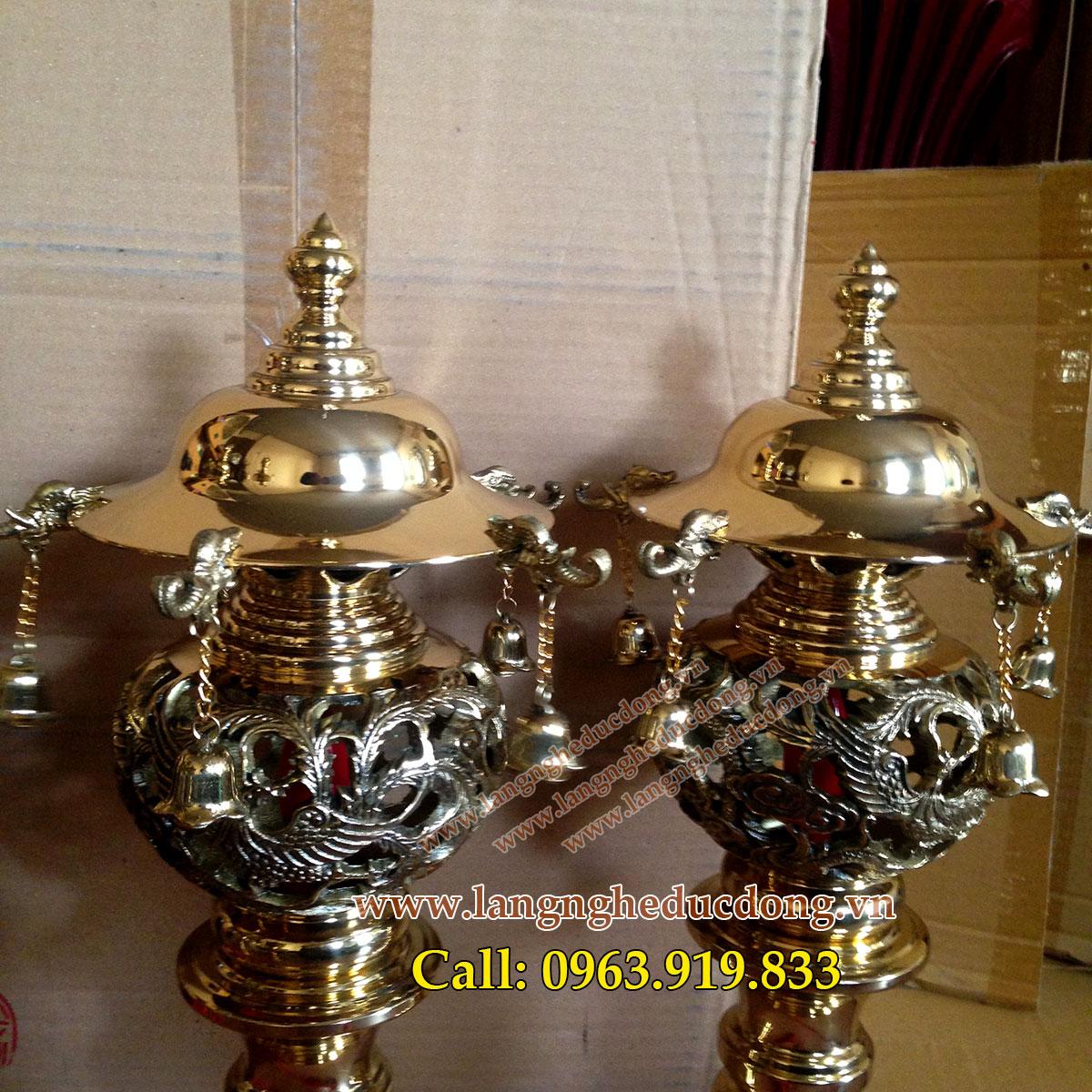 langngheducdong.vn - Đèn thờ long phụng, đèn điện bằng đồng