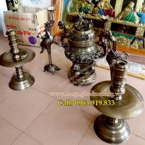 langngheducdong.vn - Đỉnh đồng vàng 55cm, bộ ngũ sự đỉnh rồng song long