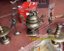 langngheducdong.vn - Đỉnh đồng thờ cúng, đỉnh 60cm bộ ngũ sự, đỉnh đồng vàng, đỉnh hun, giá bán đỉnh đồng