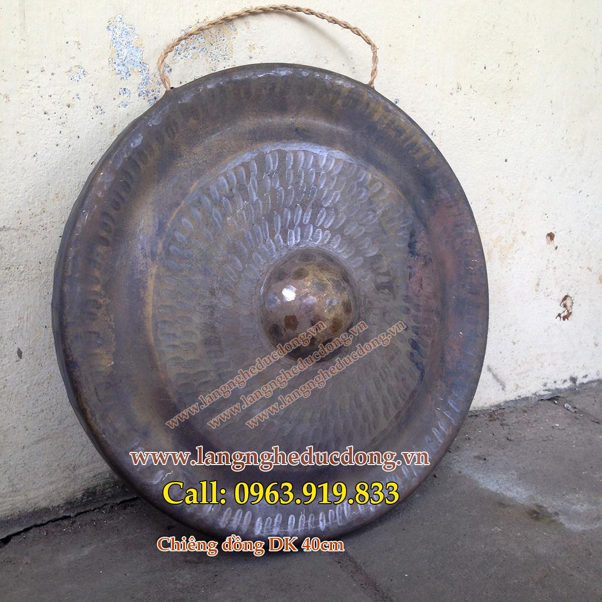 langngheducdong.vn - Chiêng đồng, Chiêng bằng đồng vàng đường kính 40cm