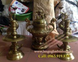 langngheducdong.vn - Bộ đỉnh thờ hoa sòi 40cm bằng đồng vàng, hun đen giả cổ