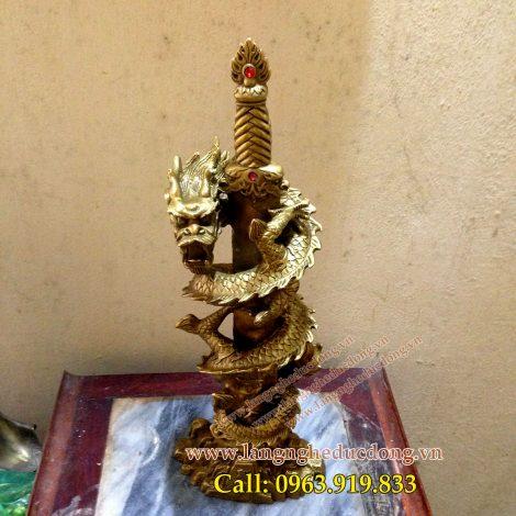 langngheducdong.vn - kiếm rồng phong thủy bằng đồng, kiếm phong thủy, rồng cuốn kiếm
