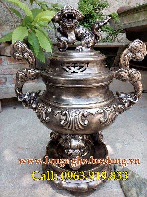 langngheducdong.vn - Đỉnh đồng thờ cúng 50cm màu hun đen giả cổ, bộ đỉnh ngũ sự