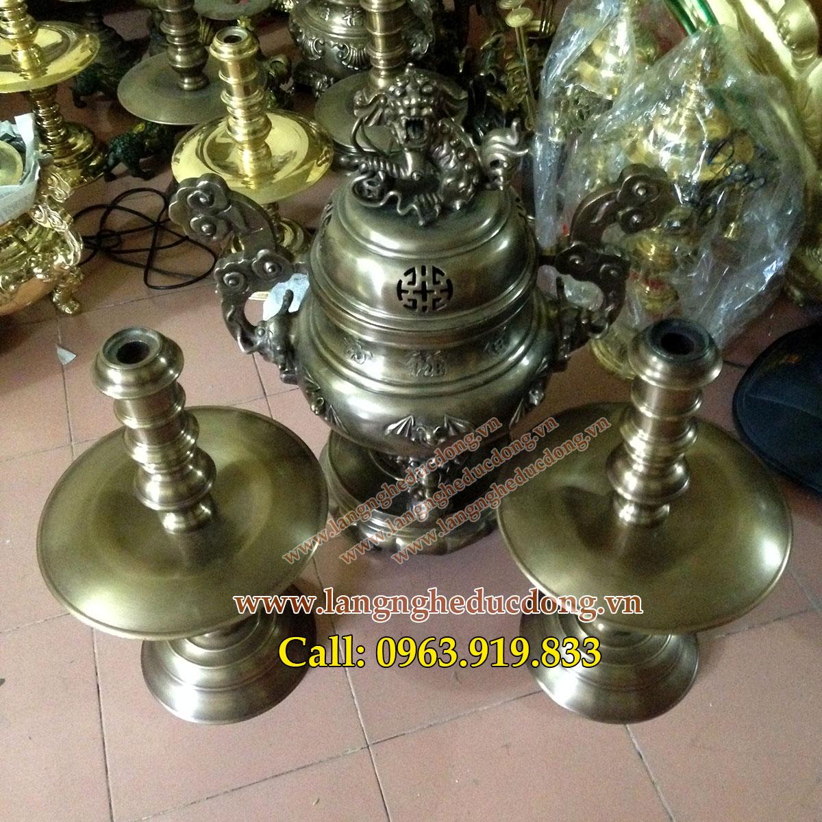 langngheducdong.vn - đỉnh đồng thờ cúng dơi phúc tam sự cao 68cm
