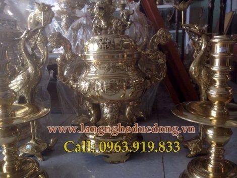 langngheducdong.vn - Bộ đỉnh ngũ sự đồng vàng, đỉnh đánh bóng, đỉnh đồng 60cm