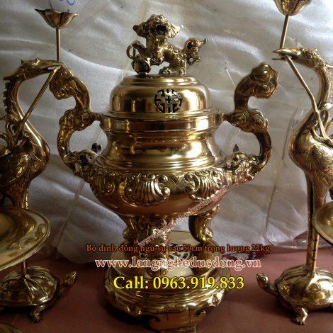 langngheducdong.vn - đỉnh đồng thờ cúng hoa sòi ngũ sự cao 50cm