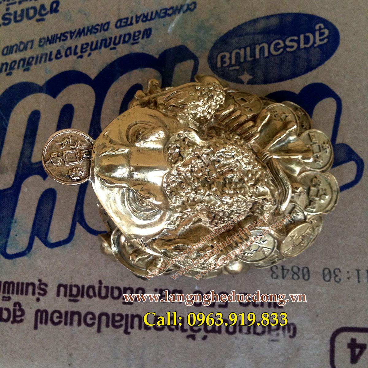 langngheducdong.vn - cóc ngậm tiền xu tài lộc đồng vàng, cóc bằng đồng cao 10cm