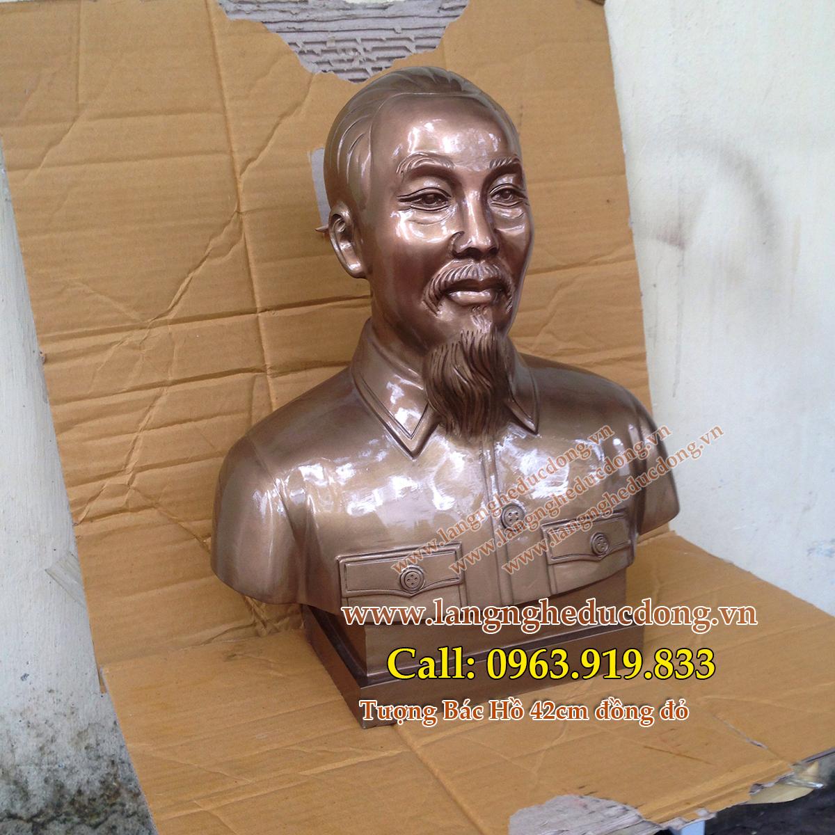 langngheducdong.vn - Tượng Bác Hồ cao 42cm, tượng đồng Bác Hồ