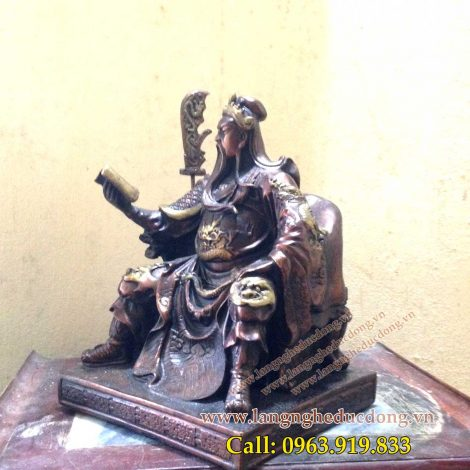 lagngheducdong.vn - đúc đồng hun màu giả cổ cao 25cm, tượng đồng quan công