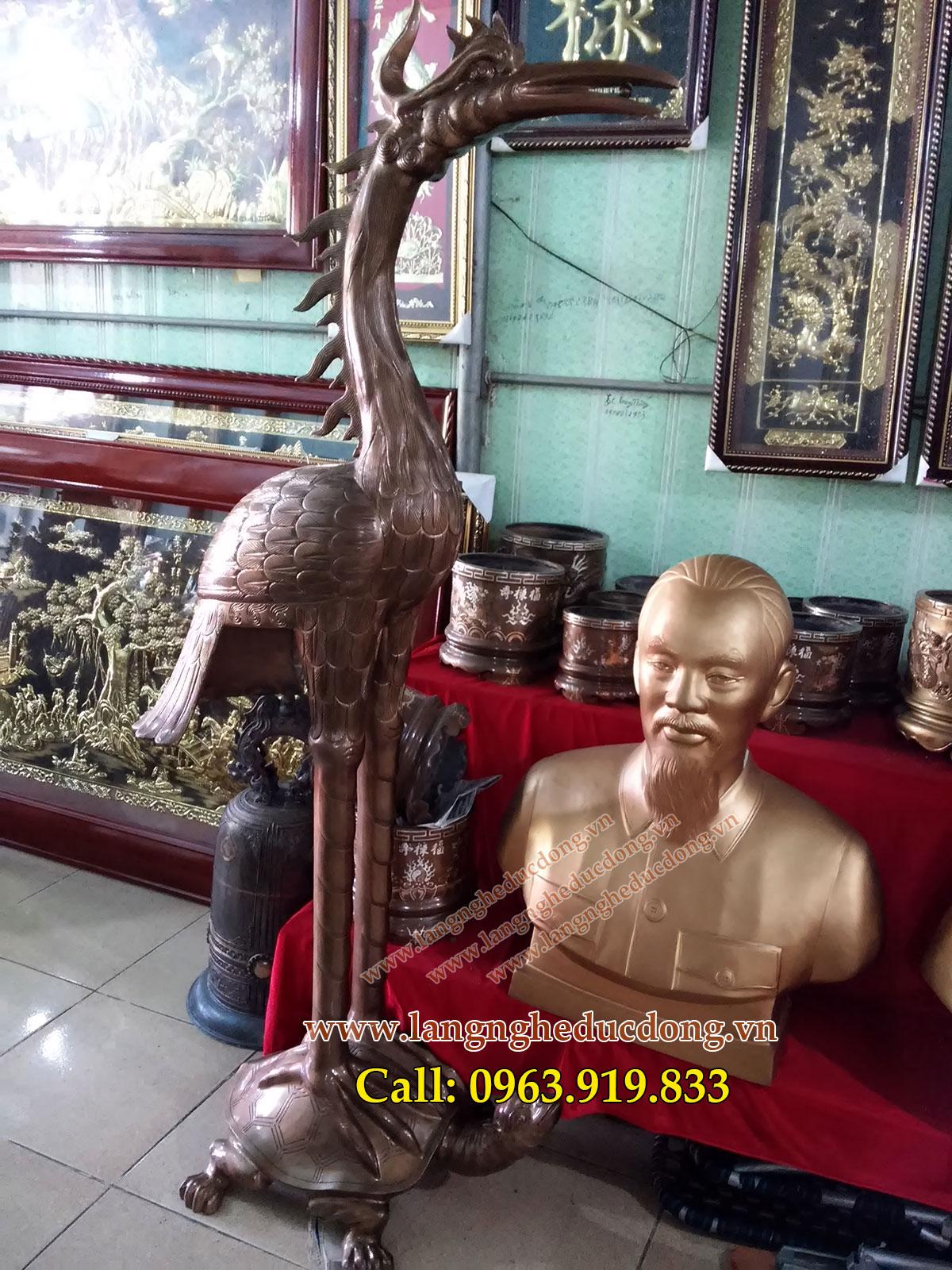 langngheducdong.vn - Hạc đồng, hạc ngậm ngọc 176cm bằng đồng đỏ