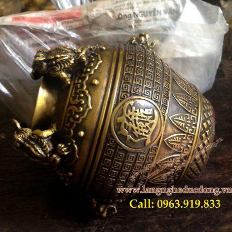 langngheducdong.vn - Hũ chiêu tài 4 cóc màu vàng nâu cũ, kích thước 11x13cm