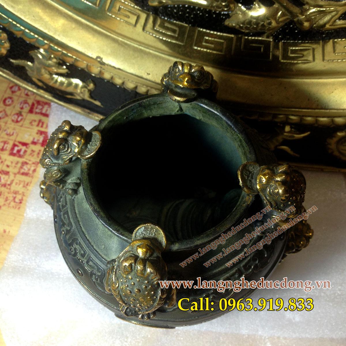 langngheducdong.vn - Hũ chiêu tài 4 cóc màu xanh giả cổ, kích thước 11x12.5cm
