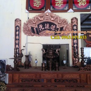 langngheducdong.vn - Hoành phi câu đối đồng đỏ, Đức Lưu Quang 1m55