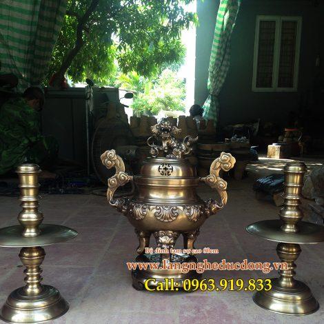 langngheducdong.vn - Đỉnh đồng thờ cúng, đỉnh tam sự cao 60cm, đỉnh hoa sòi giả cổ