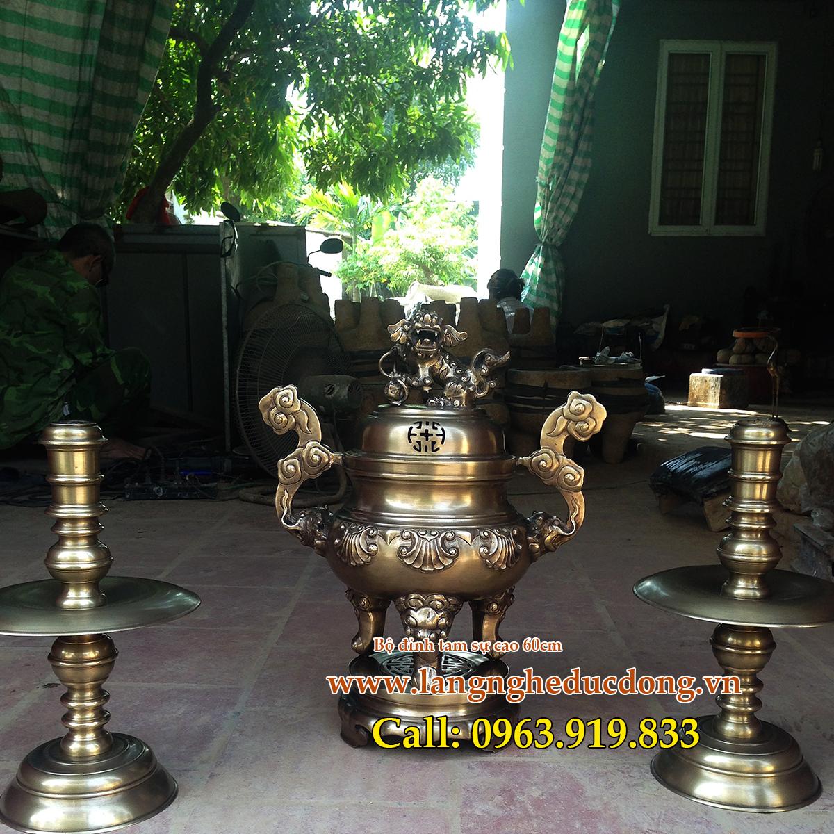 langngheducdong.vn - bộ đồ thờ tam sự cao 60cm, đỉnh đồng giả cổ