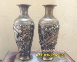 langngheducdong.vn - Lọ hoa đồng song long cao 27cm, lọ hoa bằng đồng ten giả cổ