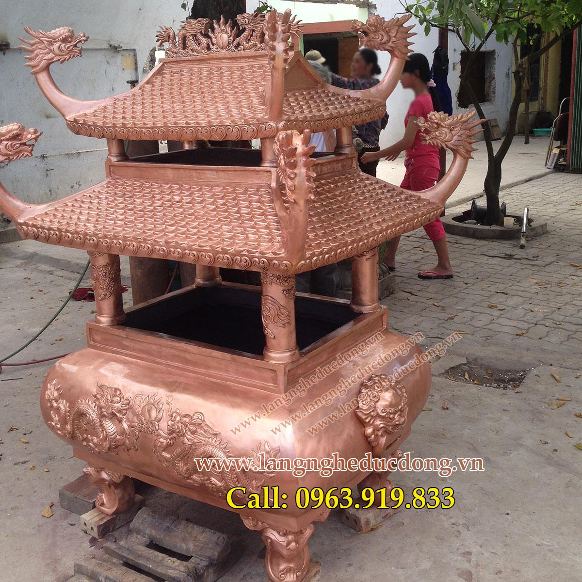 langngheducdong.vn - lư đồng đỏ hóa vàng mã cao 1m75, đúc lư đồng