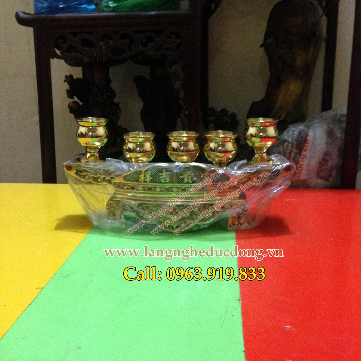 langngheducdong.vn - Ấm xuyến, ngai ly, đồ thờ bằng đồng, bộ 5 chén