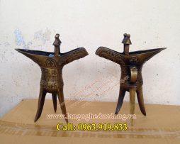 langngheducdong.vn - đôi ly bằng đồng vàng, ly tam trụ, ly tước cao 20cm