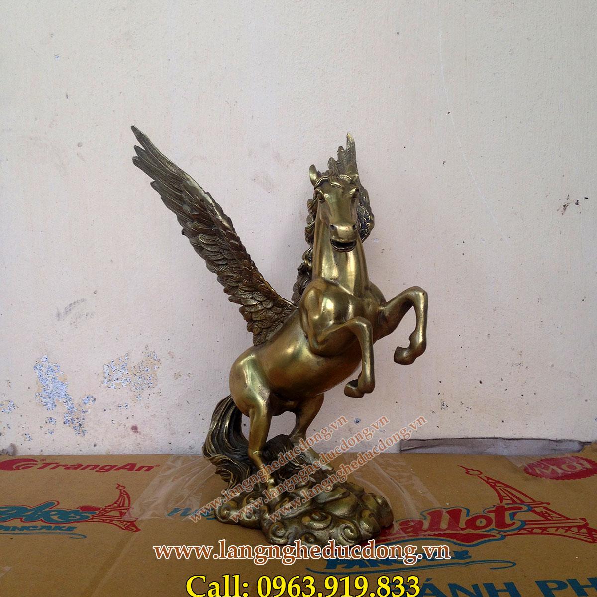 langngheducdong.vn - tượng ngựa có cánh bằng đồng cao 25cm, tượng ngựa đồng