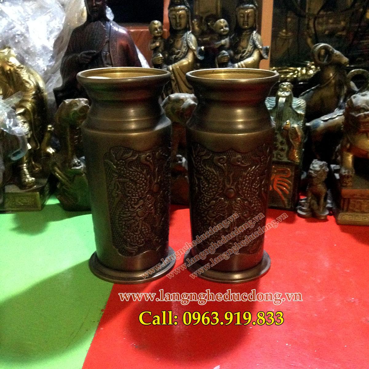 langngheducdong.vn - ống cắm hương bằng đồng cao 18cm, ống hương đồng