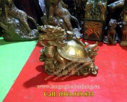 langngheducdong.vn - Rùa đầu rồng cõng gậy Như Ý,vật phẩm phong thủy bằng đồng