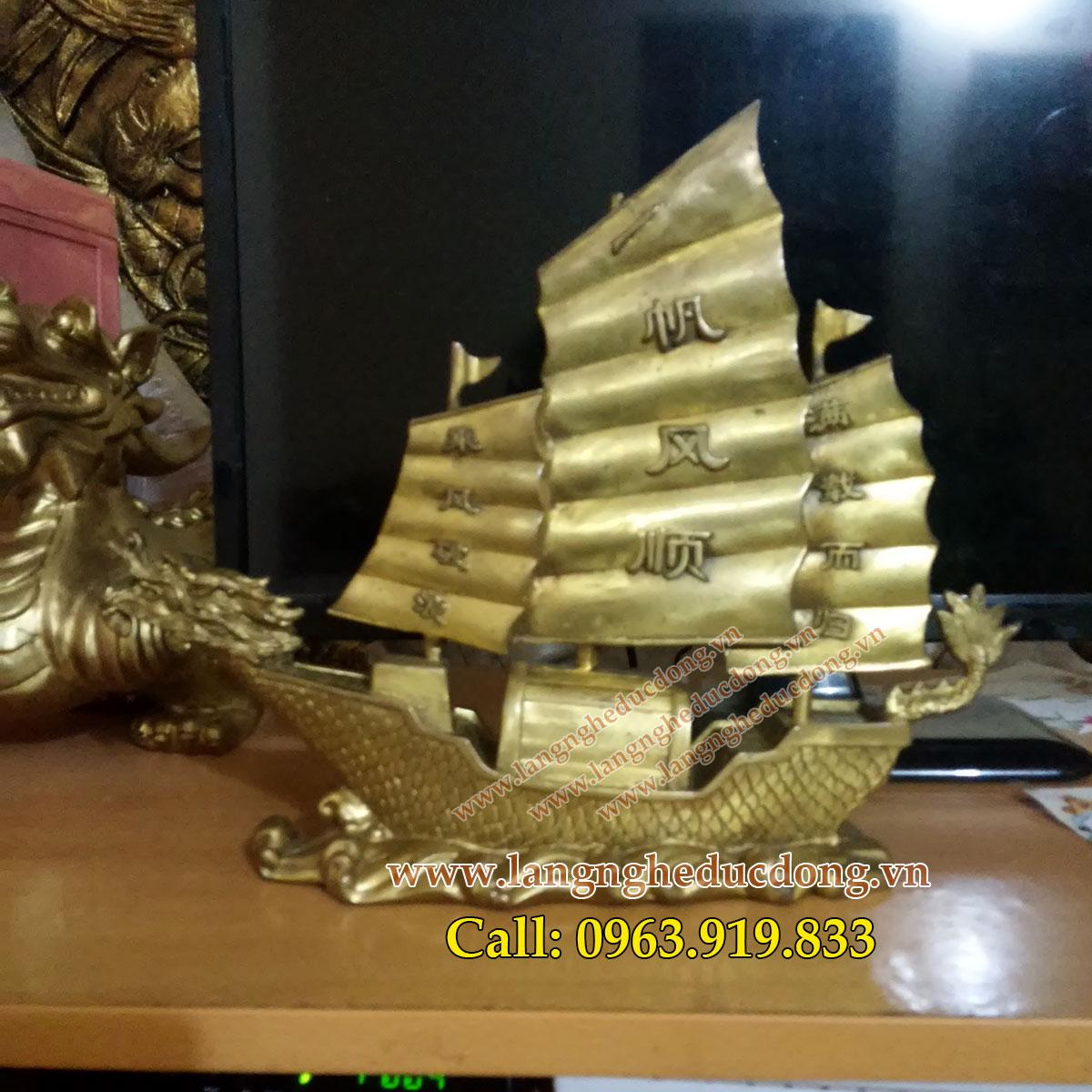 langngheducdong.vn - Thuyền vàng chở tiền phong thủy, thuyền rồng cao 30cm