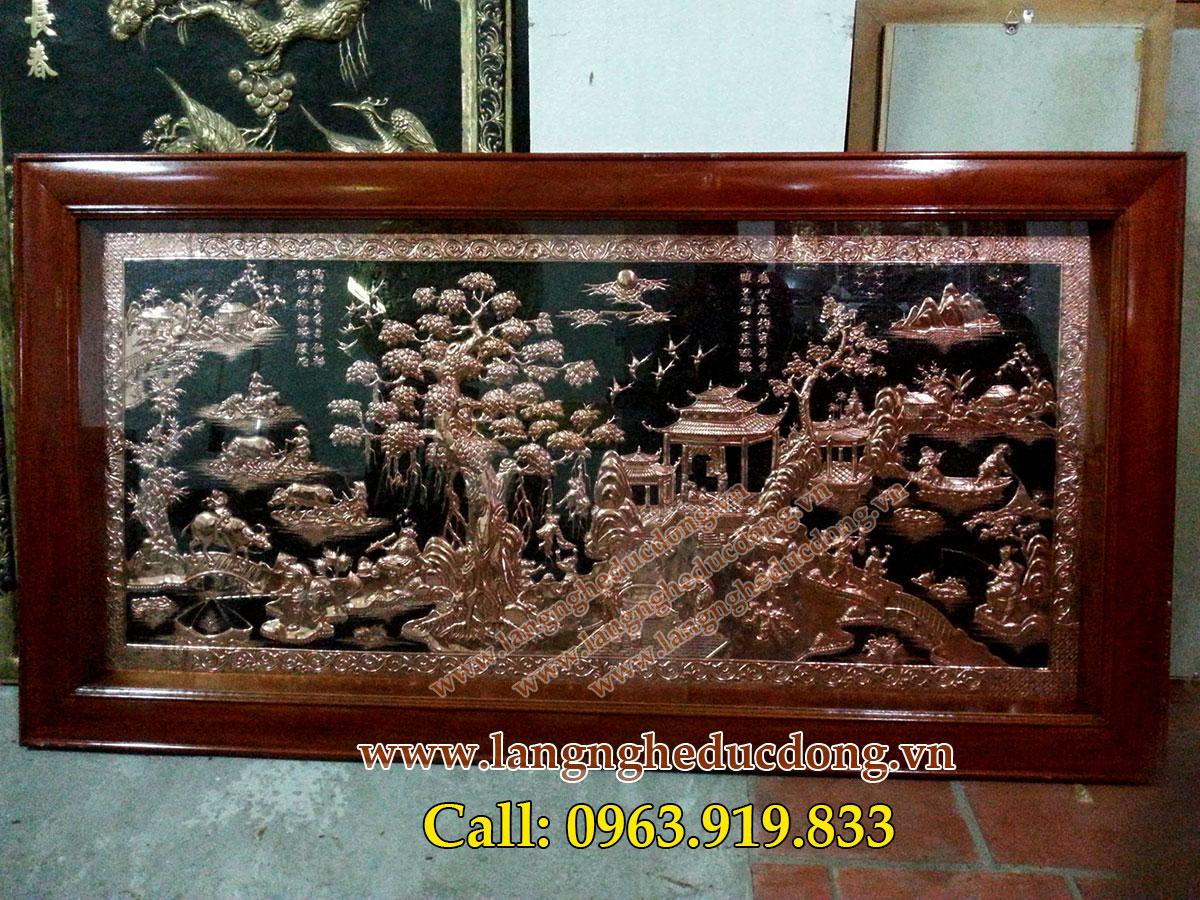 langngheducdong.vn - đồng đỏ khung gỗ, tranh đồng quê 80x160cm