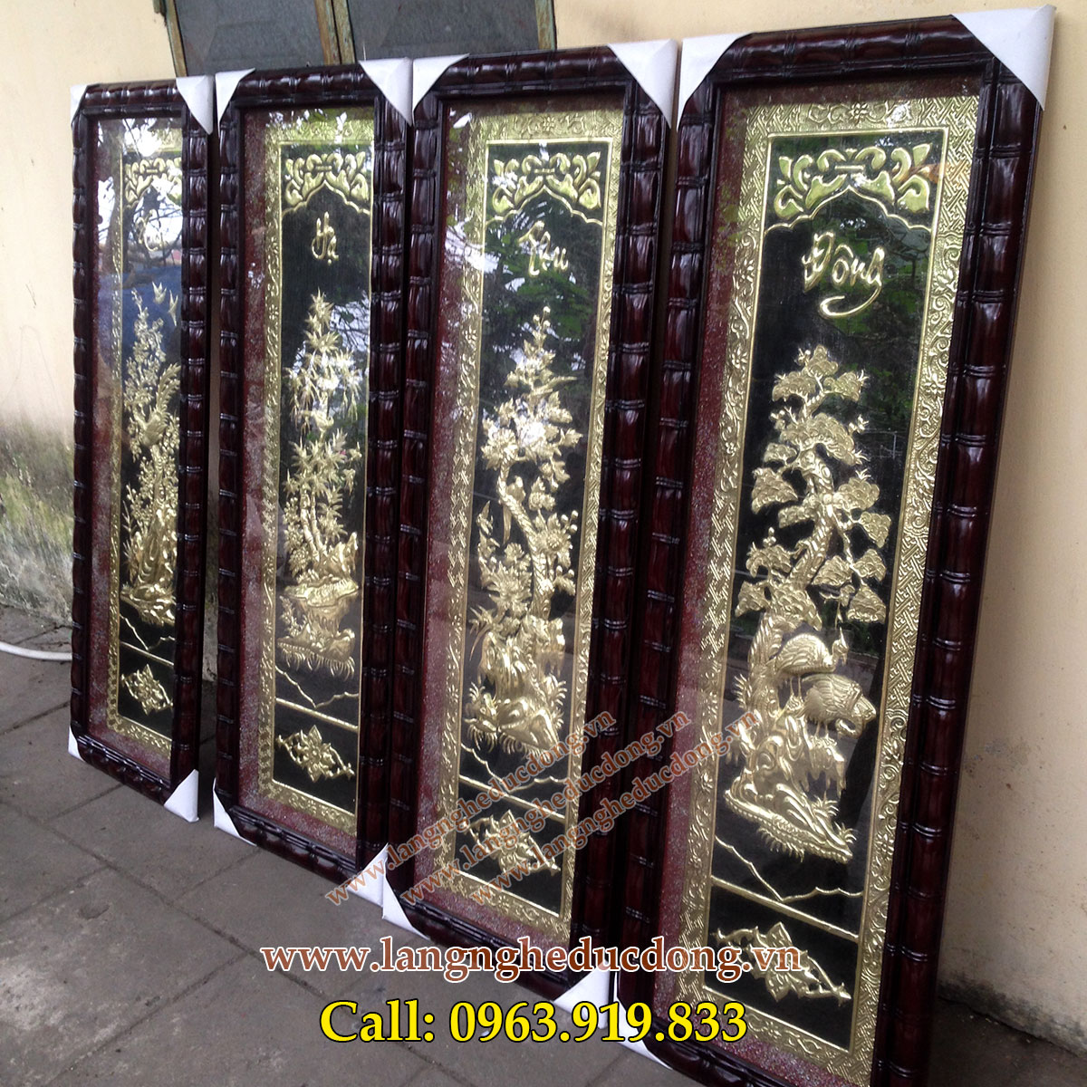 langngheducdong.vn - tranh đồng tứ quý, bộ tứ quý 45x120cm, tranh đồng trang trí