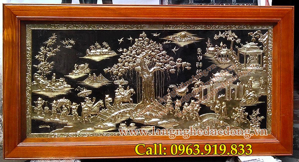 langngheducdong.vn - Tranh đồng Vinh quy bái tổ 80x150cm, tranh đồng mỹ nghệ cao cấp
