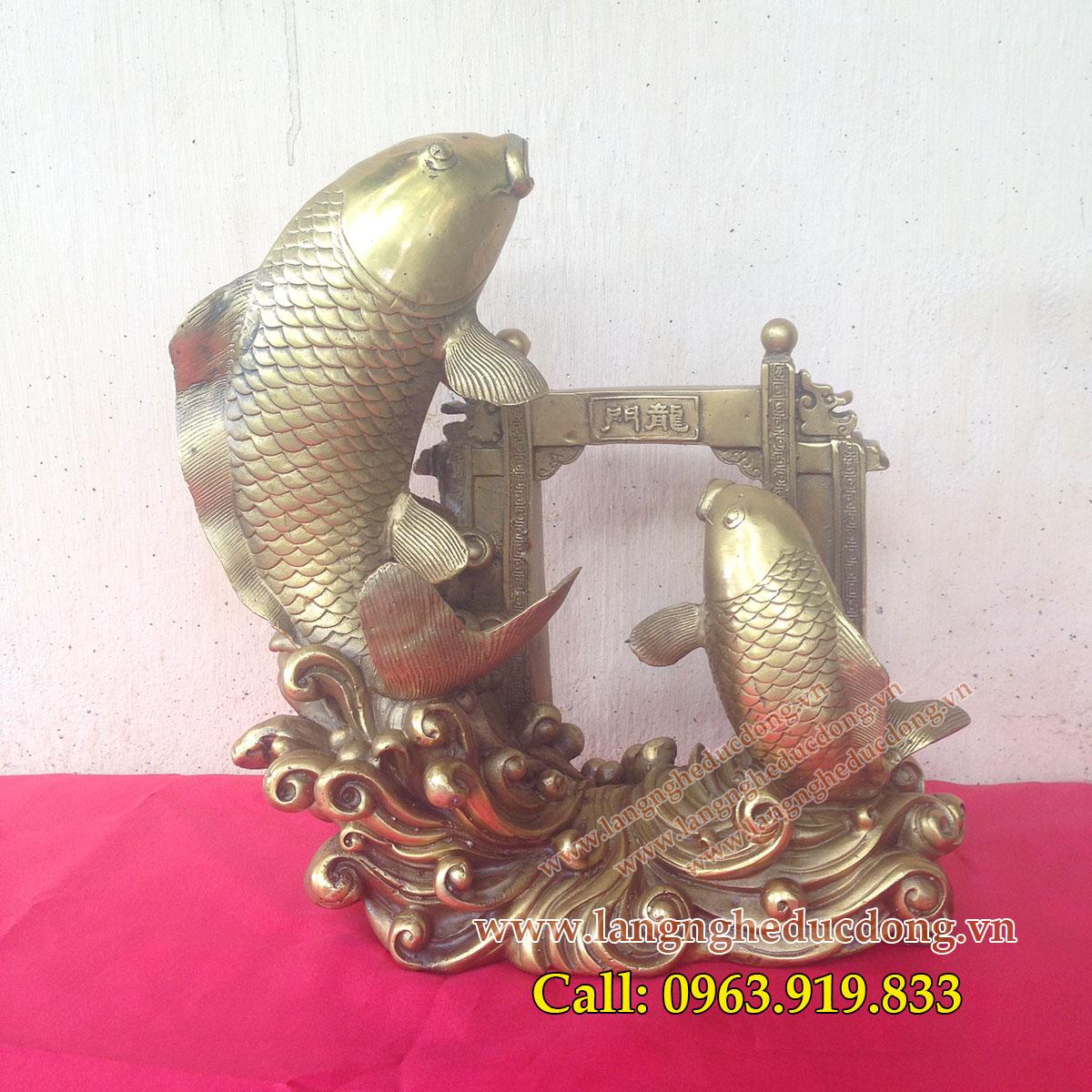 Tượng đồng cá chép, cá chép vượt vũ môn, kích thước 30cm, Cá chép bằng đồng