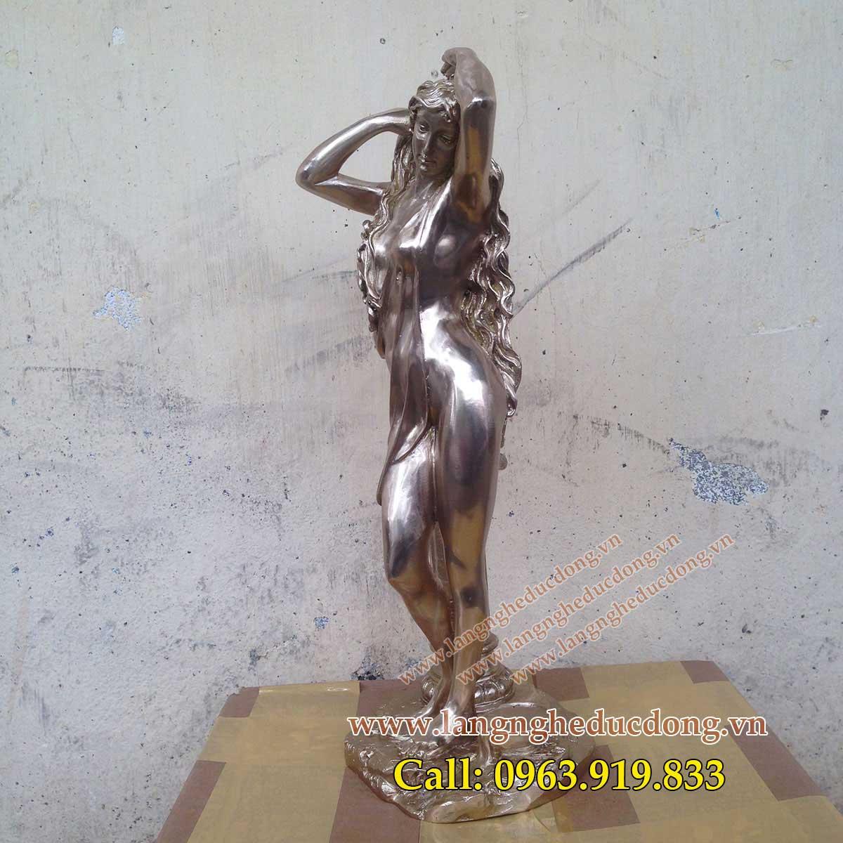 langngheducdong.vn - tượng đồng trang trí, tượng cô gái dùng trang trí phòng khách tủ kệ