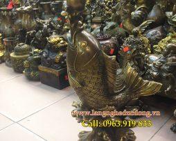 langngheducdong.vn - cá chép nhả ngọc cao 40cm, tượng cá chép bằng đồng