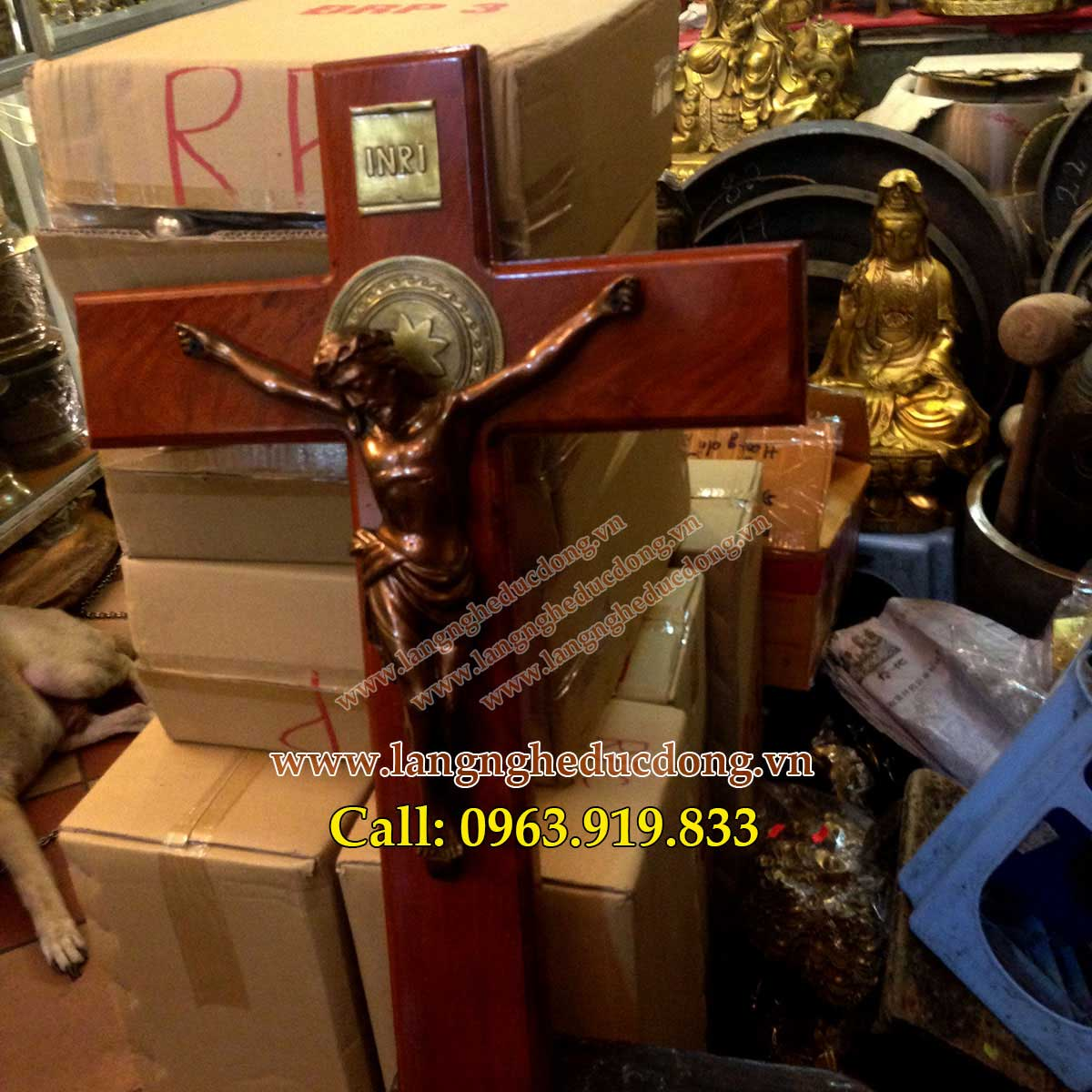 langngheducdong.vn - Thánh giá, thánh giá gỗ hương đỏ, tượng thánh giá bằng đồng đỏ