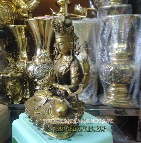 langngheducdong.vn - Tượng đồng quan âm tứ thủ, tượng quan âm bằng đồng, quan âm tứ thủ cao 30cm