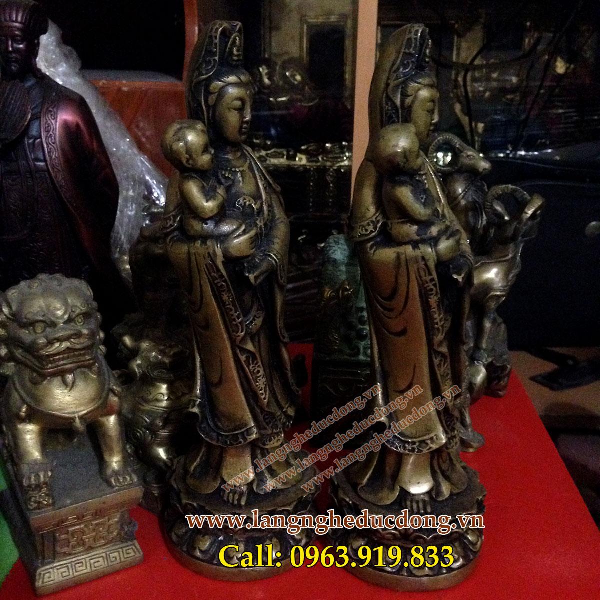 langngheducdong.vn - Tượng quan âm tống tử, quan âm bế trẻ cao 25cm, tượng quan âm bằng đồng