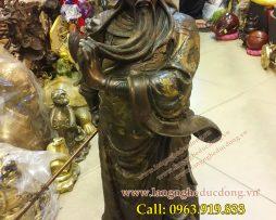 langngheducdong.vn - Quan Vân Trường cao 60cm, mẫu tượng màu nâu