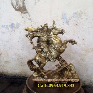 langngheducdong.vn - Tượng quan công cưỡi ngựa 50cm, tượng quan công bằng đồng