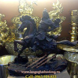 langngheducdong.vn - Tượng quan công cưỡi ngựa bằng đồng vàng giả cổ cao 25cm