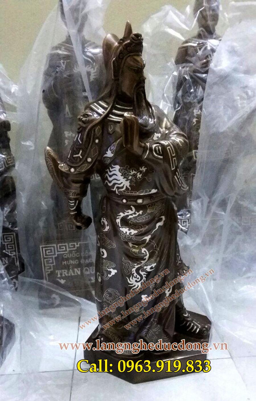 langngheducdong.vn - Tượng Quan Vũ Khảm bạc, tượng quan công cao 70cm
