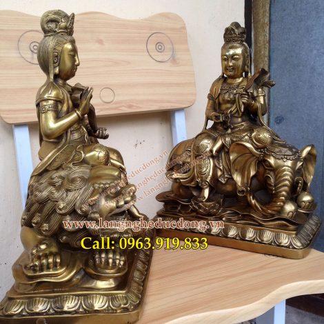 langngheducdong.vn - Bộ tượng đồng văn thù phổ hiền bồ tát, mẫu tương cao 30cm