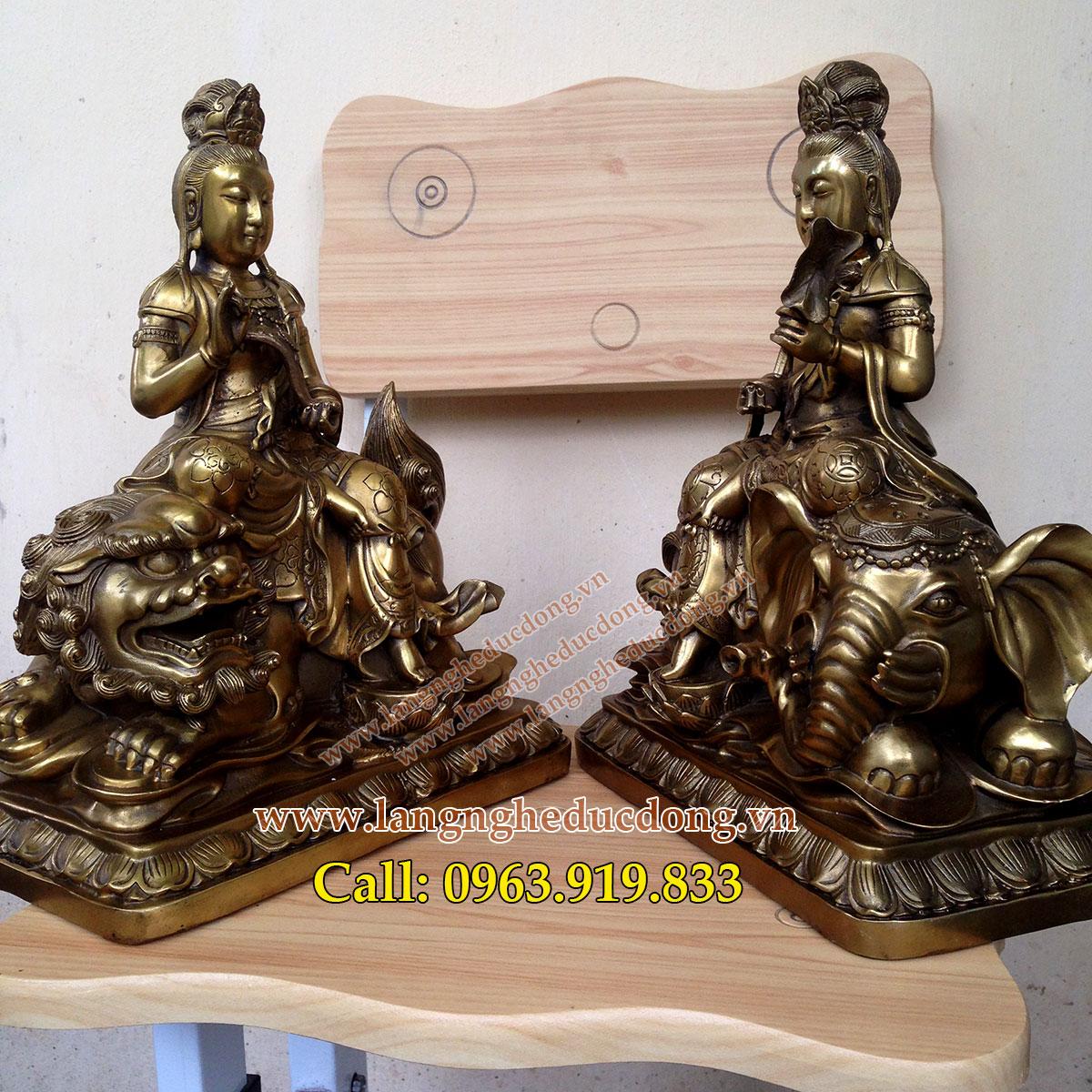 langngheducdong.vn - tượng đồng văn thù phổ hiền mẫu cao 40cm, tượng đồng
