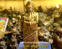 langngheducdong.vn - tượng đồng cao 40cm, tượng quan công bằng đồng vàng